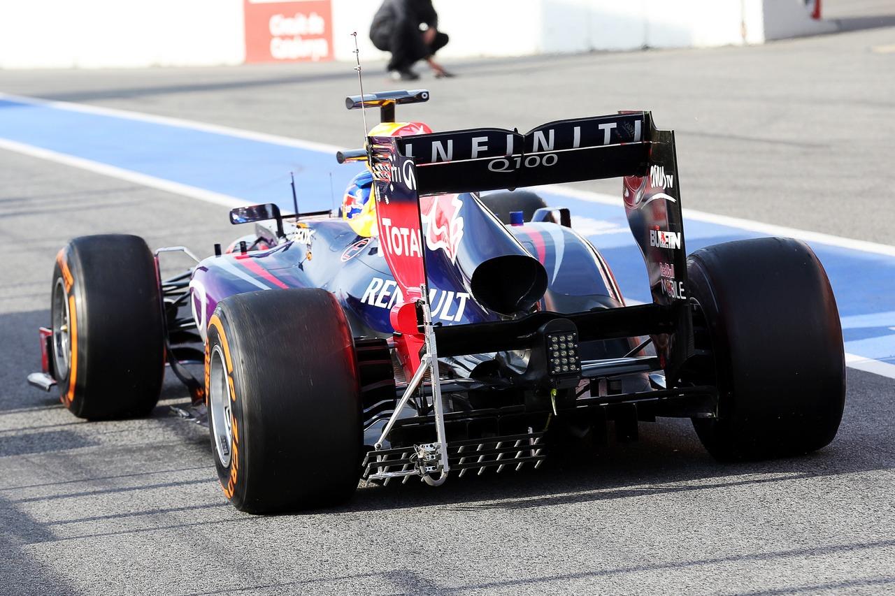 Sebastian Vettel (GER) Red Bull Racing RB9 running sensor equipment on the rear diffuser. 03.03.2013.
