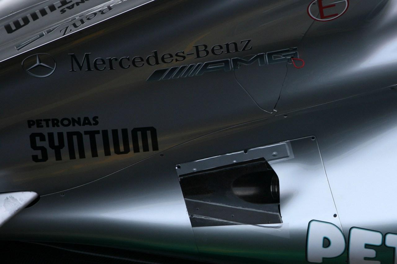 21.02.2012 Barcelona, Spain, Technical detail, exhaust - Mercedes F1 W03 Launch