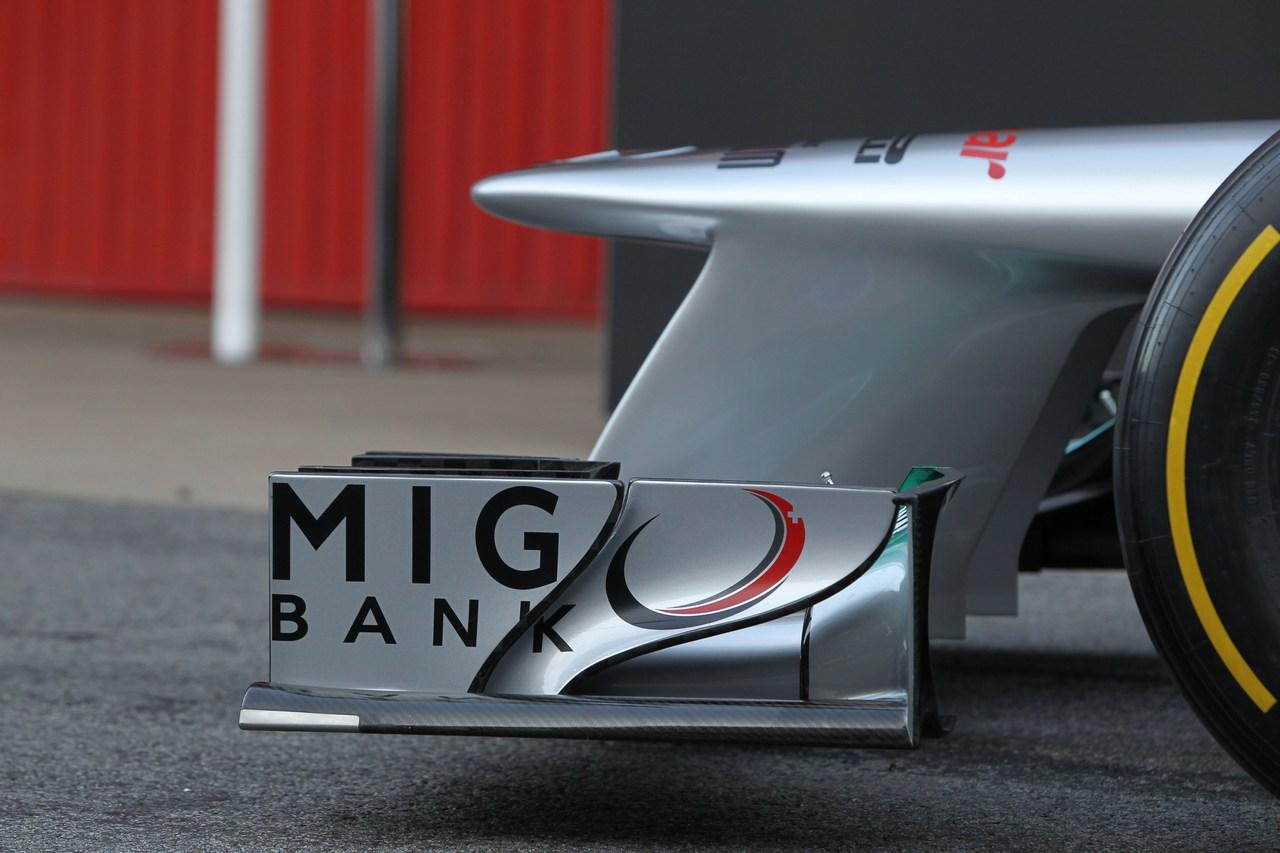 21.02.2012 Barcelona, Spain, Front wing - Mercedes F1 W03 Launch
