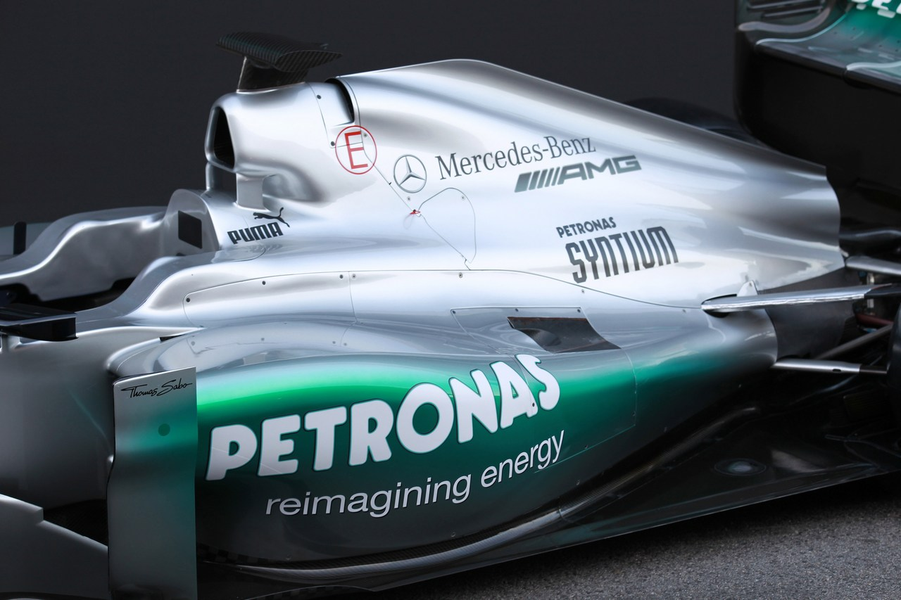 21.02.2012 Barcelona, Spain, Engine cover  - Mercedes F1 W03 Launch