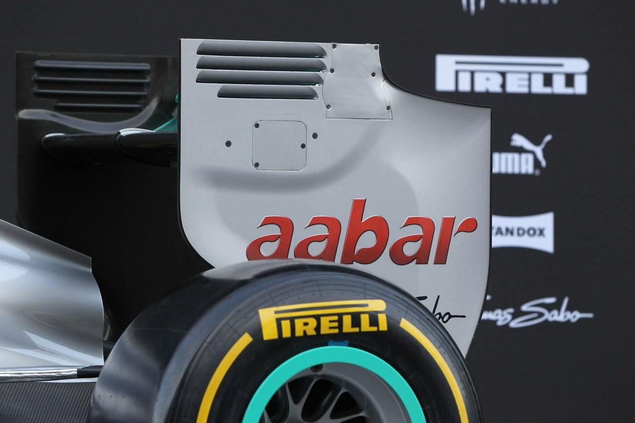 21.02.2012 Barcelona, Spain, Rear wing  - Mercedes F1 W03 Launch