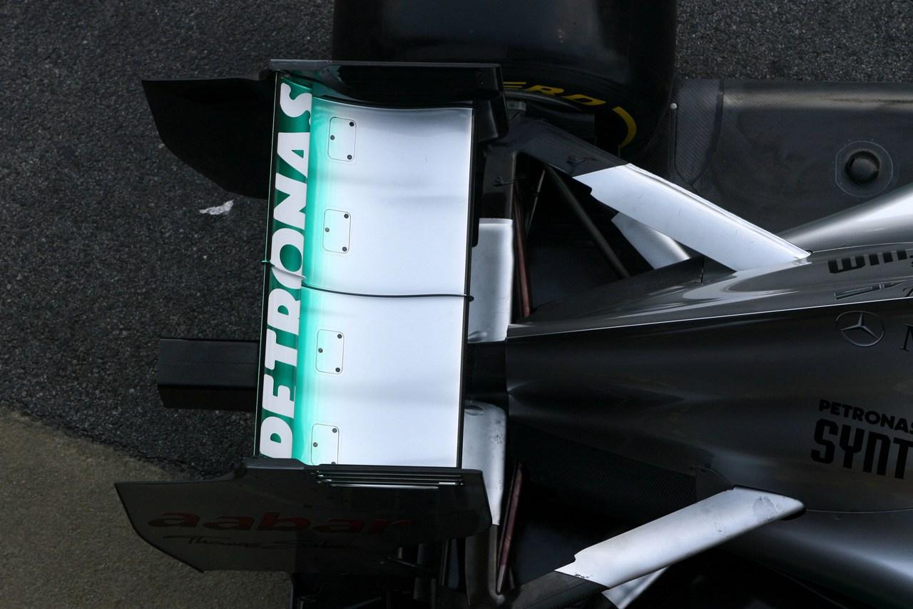 21.02.2012 Barcelona, Spain, Technical detail, rear wing - Mercedes F1 W03 Launch