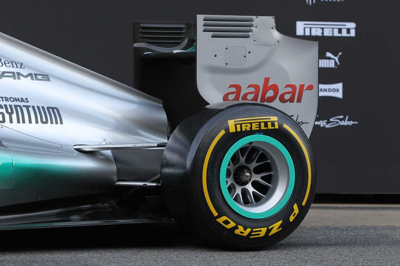 21.02.2012 Barcelona, Spain, rear wing and engine cover - Mercedes F1 W03 Launch