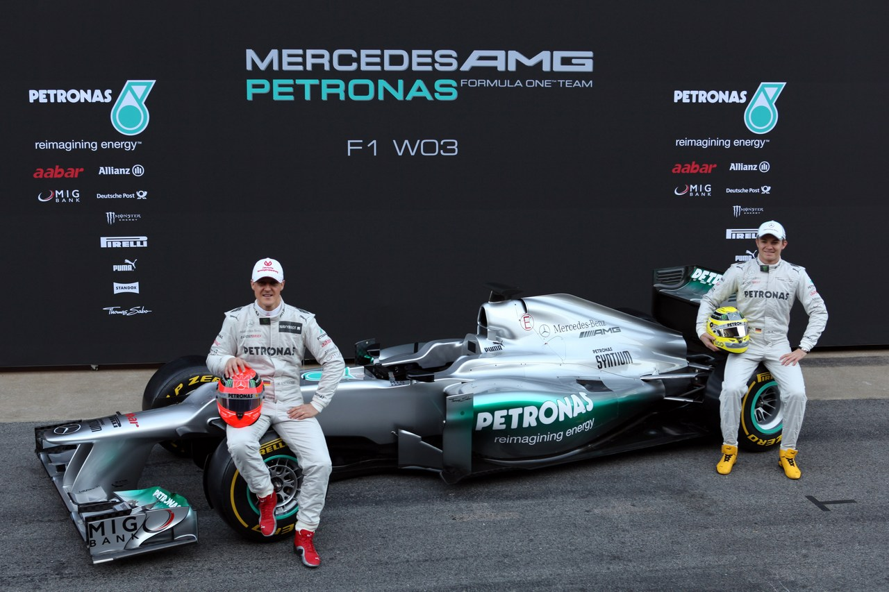 21.02.2012 Barcelona, Spain, Michael Schumacher (GER), Mercedes GP and Nico Rosberg (GER), Mercedes GP - Mercedes F1 W03 Launch
