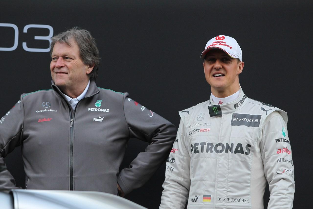 21.02.2012 Barcelona, Spain, Norbert Haug (GER), Mercedes Sporting Director with Michael Schumacher (GER), Mercedes GP- Mercedes F1 W03 Launch