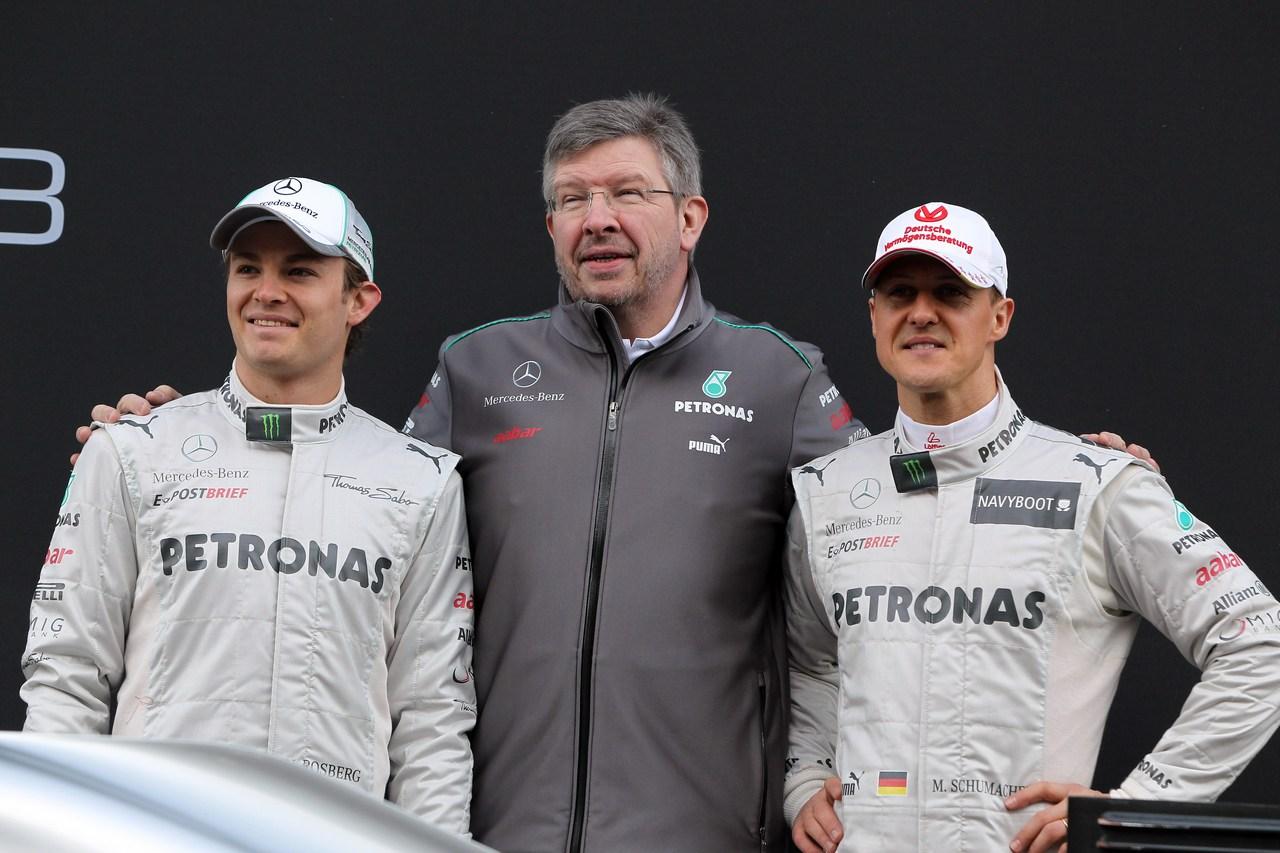 21.02.2012 Barcelona, Spain, Nico Rosberg (GER), Mercedes GP with Ross Brawn (GBR), Mercedes GP Team Principal andMichael Schumacher (GER), Mercedes GP- Mercedes F1 W03 Launch