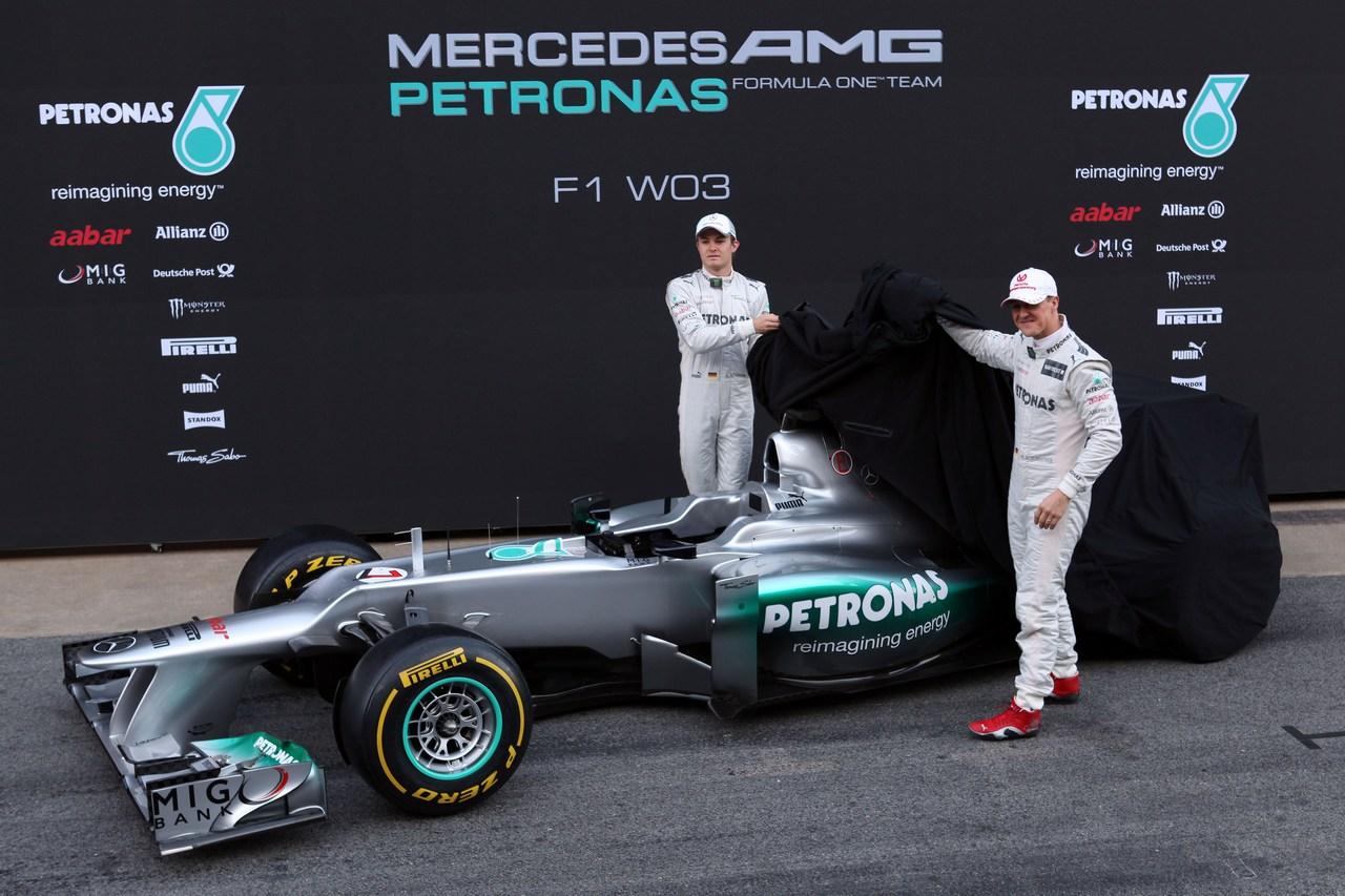 21.02.2012 Barcelona, Spain, Michael Schumacher (GER) Mercedes GP and Nico Rosberg (GER) Mercedes GP unveil the new  Mercedes F1 W03 - Mercedes F1 W03 Launch