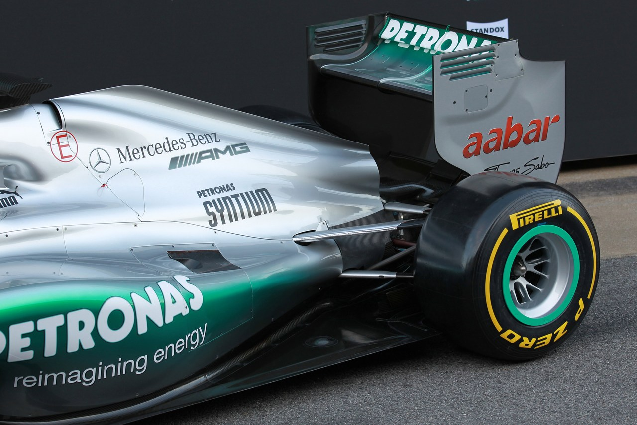 21.02.2012 Barcelona, Spain, Engine cover and rear wing  - Mercedes F1 W03 Launch