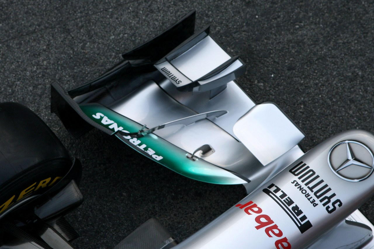 21.02.2012 Barcelona, Spain, Technical detail, front wing - Mercedes F1 W03 Launch