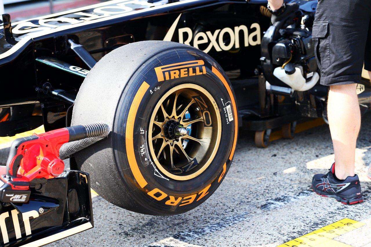 Pirelli tyre on the Lotus F1 E21 of Davide Valsecchi (ITA) Lotus F1 Third Driver.