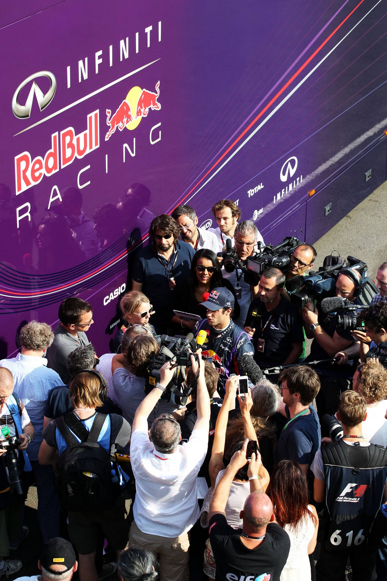 Daniel Ricciardo (AUS) Red Bull Racing Test Driver with the media.