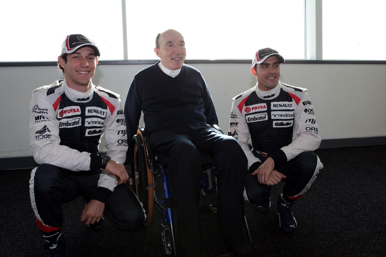 Bruno Senna (BRA), Williams F1 Team with Frank Williams (GBR) Williams Team Owner and Pastor Maldonado (VEN), Williams F1 Team