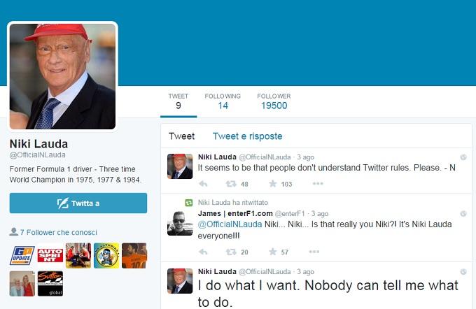 Il profilo Twitter di Niki Lauda è un fake