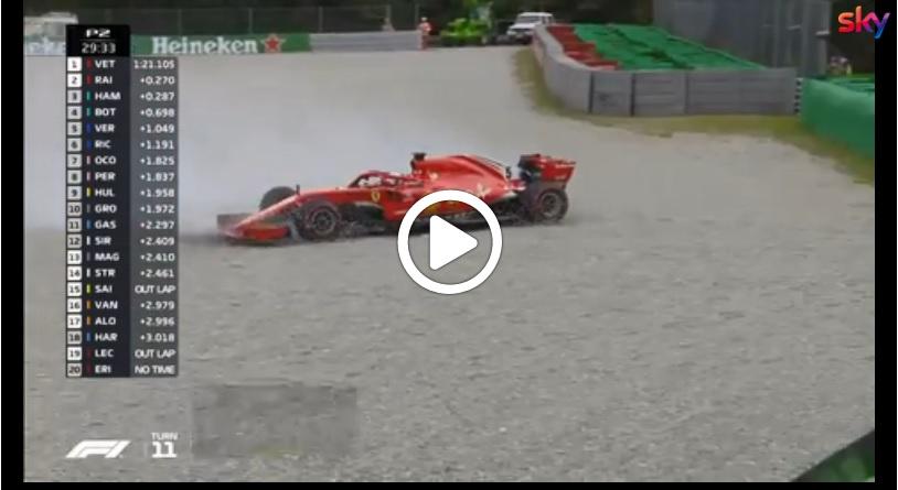F1 | Ferrari, Vettel a muro nel corso della seconda sessione di libere a Monza [VIDEO]