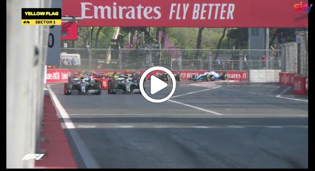 F1 | GP Baku, ruota a ruota tra Hamilton e Bottas: le immagini della partenza [VIDEO]