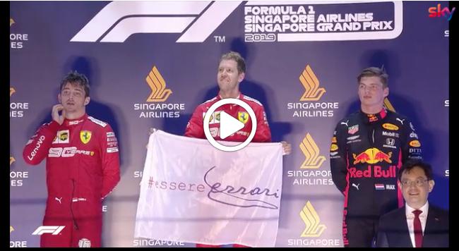 F1   GP Singapore, Vettel torna sul gradino più alto del podio: la festa post gara [VIDEO]