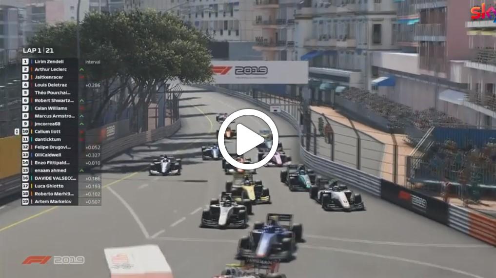 F2 | Virtual GP Monaco, partenza con incidente nella Feature Race [VIDEO]