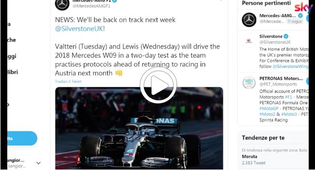 """F1   Mercedes e Ferrari tornano in pista dopo il """"lockdown"""" [VIDEO]"""