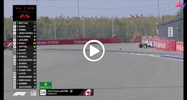 F1   GP Russia, Latifi contro le barriere: l'incidente in FP1 [VIDEO]