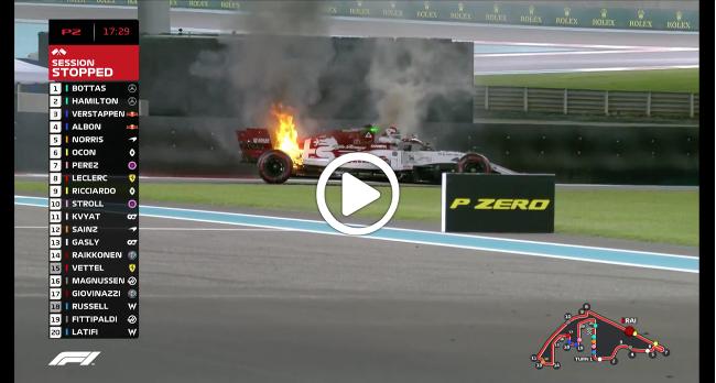 F1   GP Abu Dhabi, fiamme sull'Alfa Romeo di Raikkonen [VIDEO]